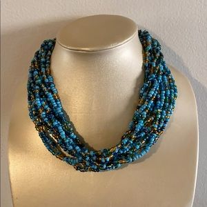 Torsade Multi-Strand Turquoise Beaded Necklace New